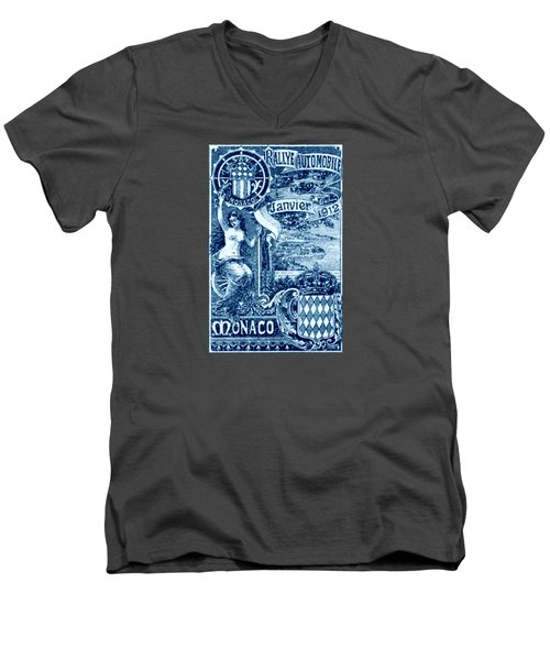 Men's V-Neck T-Shirt featuring the painting 1912 Monaco Automobile Rally by Historic Image