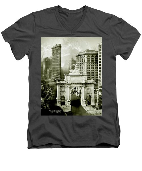 1919 Flatiron Building With The Victory Arch Men's V-Neck T-Shirt