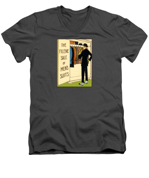 Men's V-Neck T-Shirt featuring the painting 1920 Mens's Suites On Sale by Historic Image