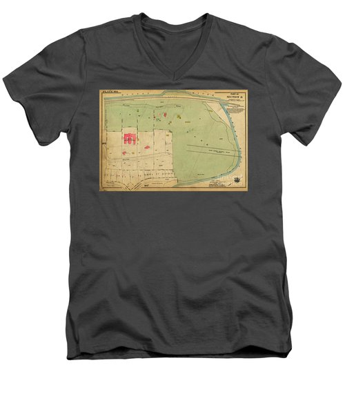 Men's V-Neck T-Shirt featuring the photograph 1923 Inwood Hill Map  by Cole Thompson