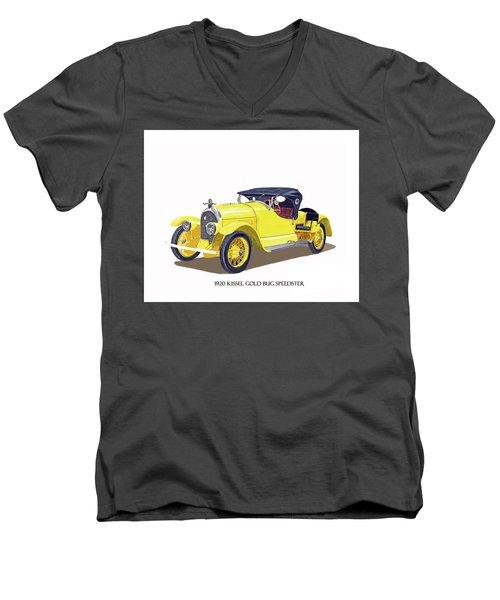 Men's V-Neck T-Shirt featuring the painting 1923 Kissel Kar  Gold Bug Speedster by Jack Pumphrey