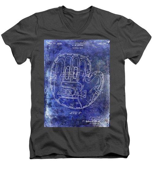 1925 Baseball Glove Patent Blue Men's V-Neck T-Shirt