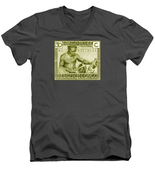 Men's V-Neck T-Shirt featuring the painting 1925 Belgian Congo Native Woodcarving by Historic Image