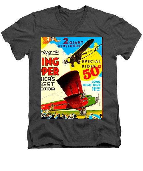 1929 Boeing Clipper Vintage Flying Circus Poster Men's V-Neck T-Shirt