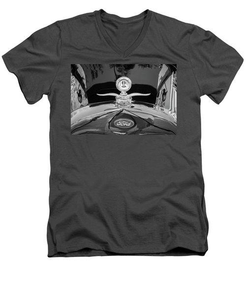 1929 Ford Model A Hood Ornament Bw Men's V-Neck T-Shirt by Rich Franco