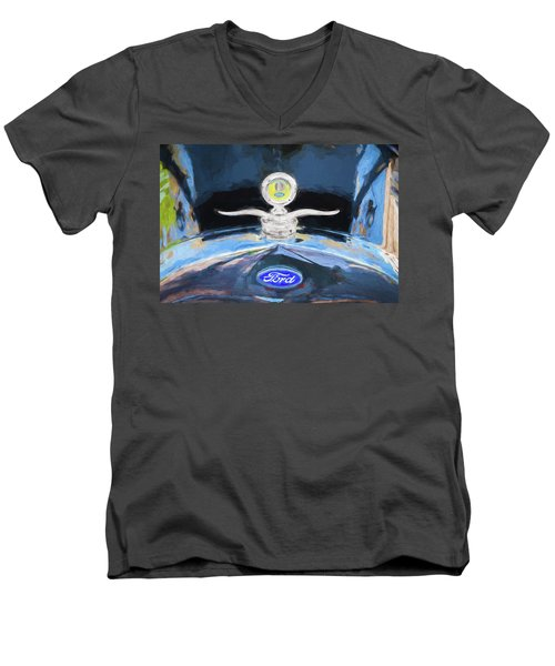 1929 Ford Model A Hood Ornament Painted Men's V-Neck T-Shirt by Rich Franco
