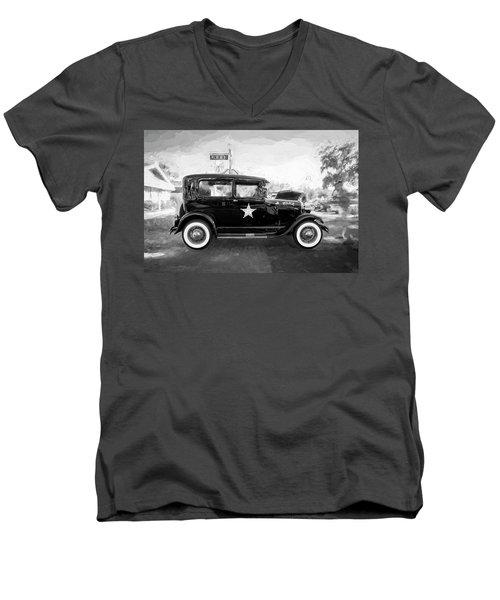 1929 Ford Model A Tudor Police Sedan Bw Men's V-Neck T-Shirt