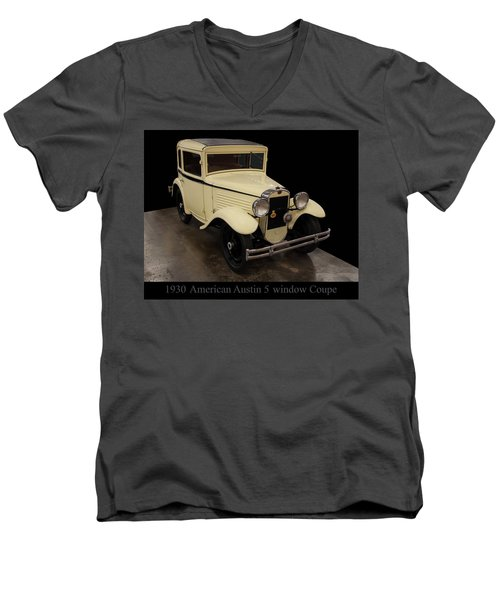 Men's V-Neck T-Shirt featuring the digital art 1930 American Austin 5 Window Coupe by Chris Flees