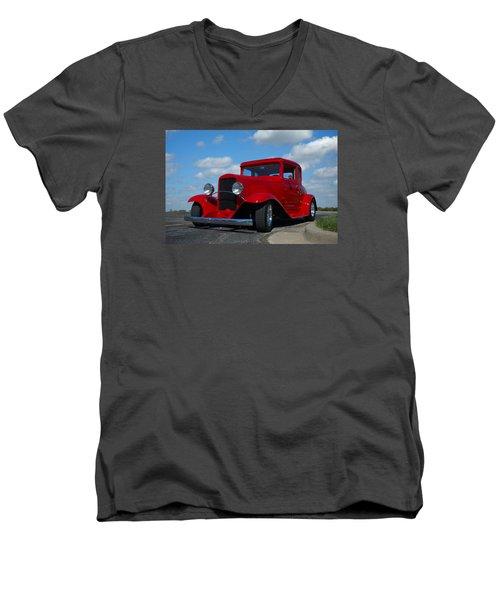 1930 Chevrolet Coupe Hot Rod Men's V-Neck T-Shirt