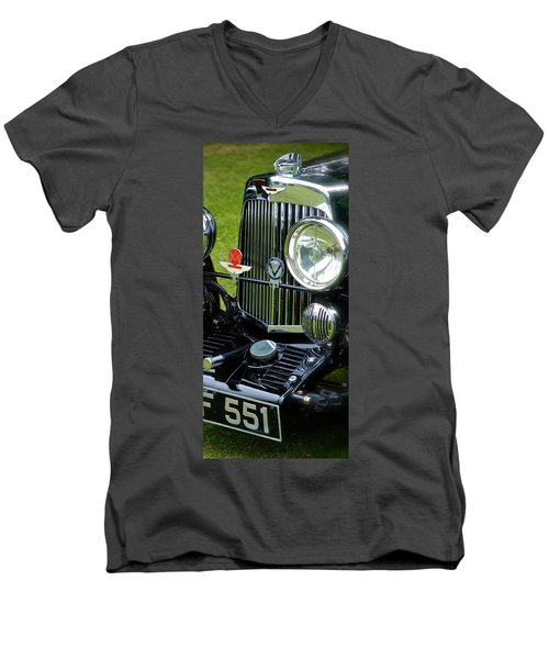 1930s Aston Martin Front Grille Detail Men's V-Neck T-Shirt by John Colley