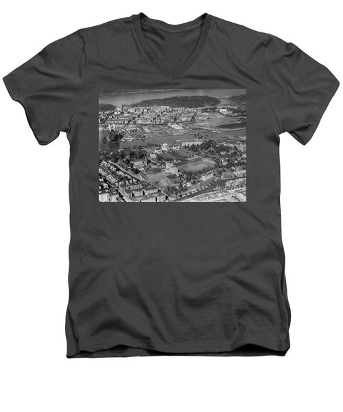 Men's V-Neck T-Shirt featuring the photograph 1930's Northern Manhattan Aerial  by Cole Thompson