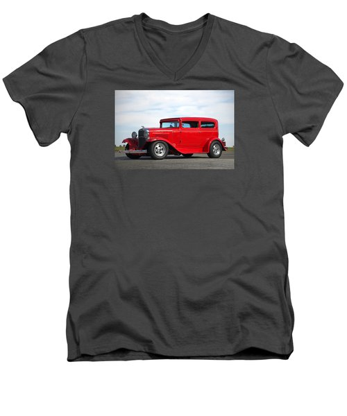Men's V-Neck T-Shirt featuring the photograph 1930 Chevrolet Sedan by Tim McCullough