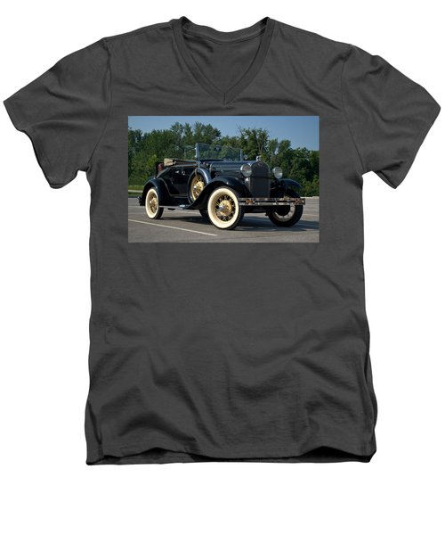 Men's V-Neck T-Shirt featuring the photograph 1931 Ford Model A Roadster by Tim McCullough