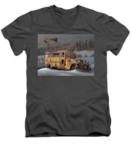 Men's V-Neck T-Shirt featuring the digital art 1931 Ford School Bus by Stuart Swartz