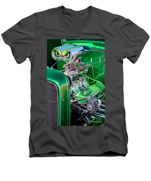 Men's V-Neck T-Shirt featuring the photograph 1932 Green Ford Hot Rod Engine by Aloha Art