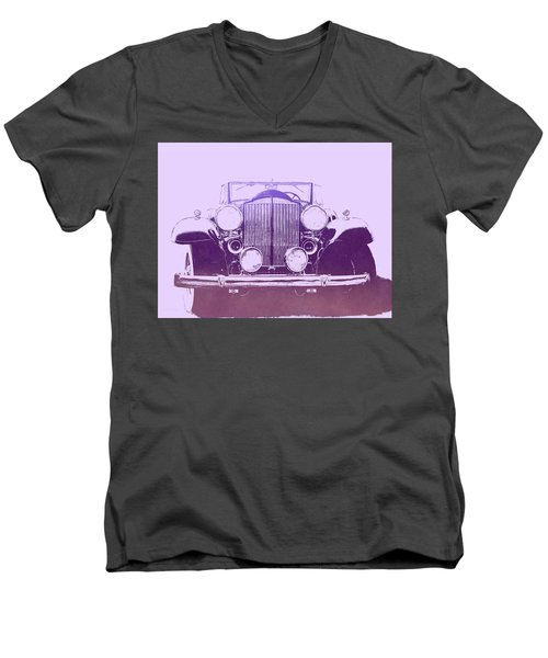 1932 Packard Pop Art Violet Gradient Men's V-Neck T-Shirt