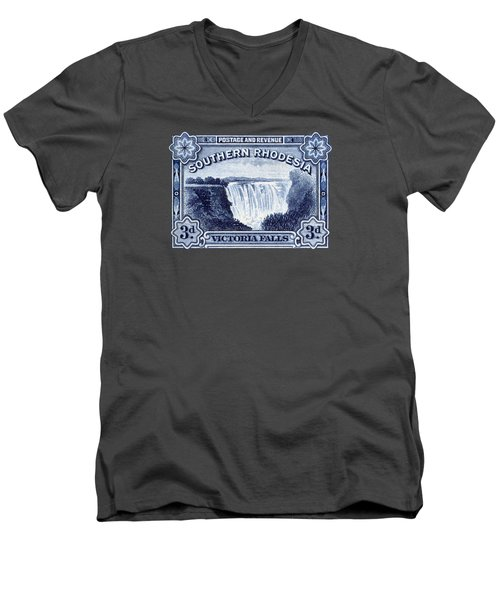 Men's V-Neck T-Shirt featuring the painting 1932 Southern Rhodesia Victoria Falls Stamp by Historic Image