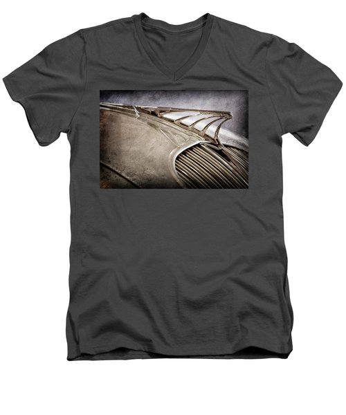 Men's V-Neck T-Shirt featuring the photograph 1934 Desoto Airflow Coupe Hood Ornament -2404ac by Jill Reger