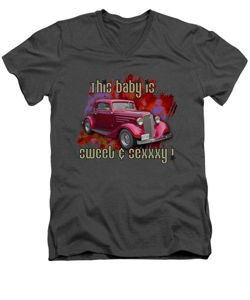 1935 Chev 3 Widow Coupe Men's V-Neck T-Shirt