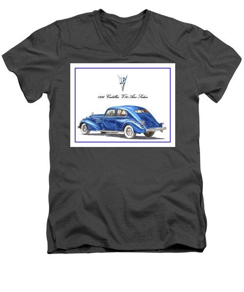 Men's V-Neck T-Shirt featuring the painting 1936 Cadillac V-16 Aero Coupe by Jack Pumphrey