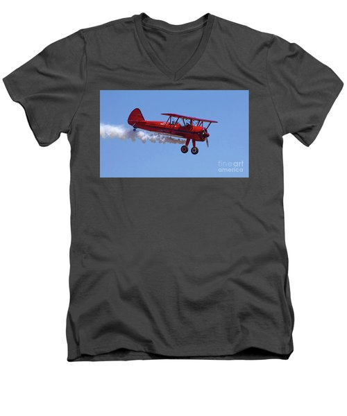 1940 Boeing Stearman Biplane Flyby Men's V-Neck T-Shirt