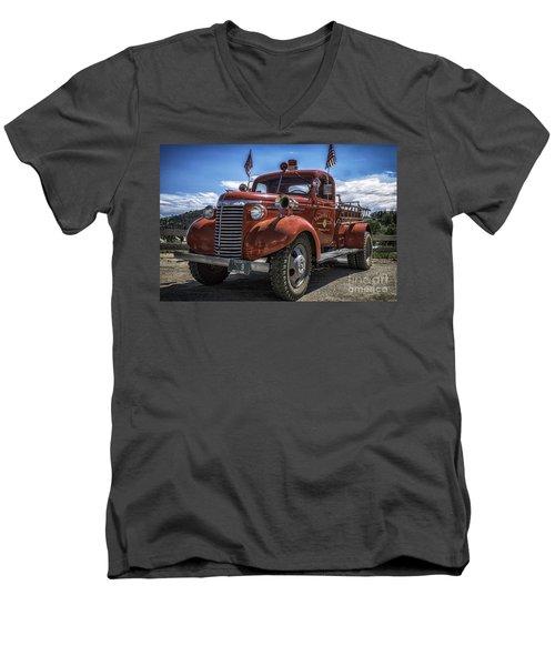 1940 Chevrolet Fire Truck  Men's V-Neck T-Shirt