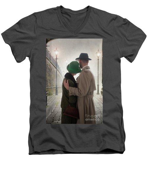 1940s Couple At Dusk  Men's V-Neck T-Shirt by Lee Avison