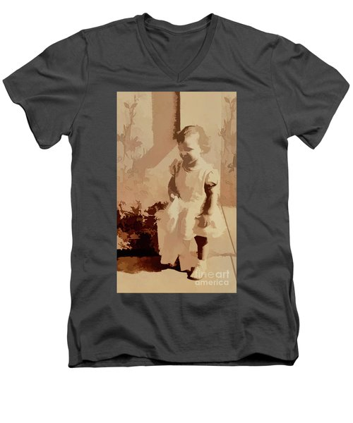 Men's V-Neck T-Shirt featuring the photograph 1940s Little Girl by Linda Phelps