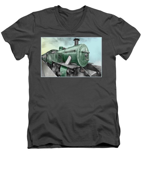 1940's Steam Train Men's V-Neck T-Shirt by Marty Garland