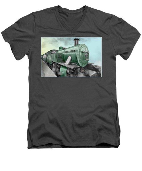 1940's Steam Train Men's V-Neck T-Shirt