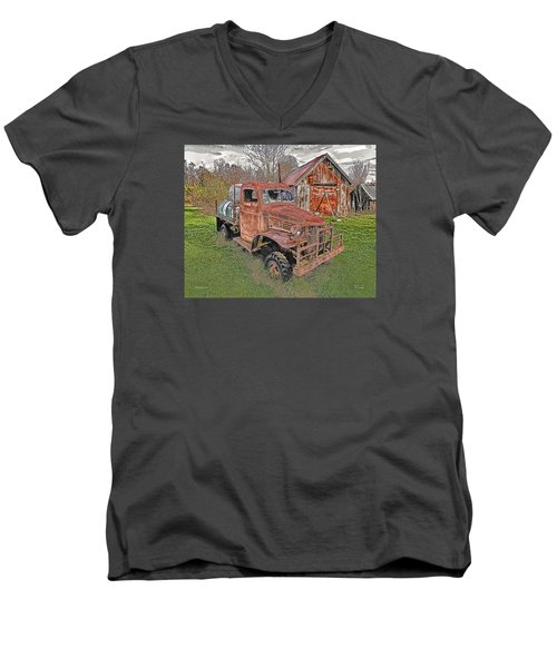 Men's V-Neck T-Shirt featuring the photograph 1941 Dodge Truck #2 by Mark Allen