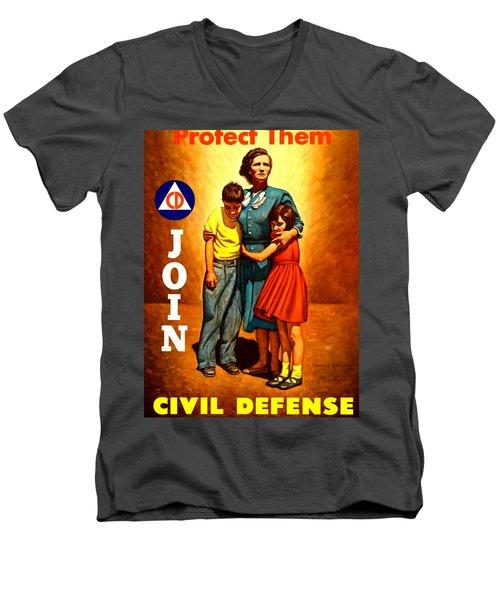1942 Civil Defense Poster By Charles Coiner Men's V-Neck T-Shirt