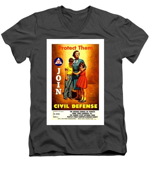 1942 Civil Defense Poster II Men's V-Neck T-Shirt