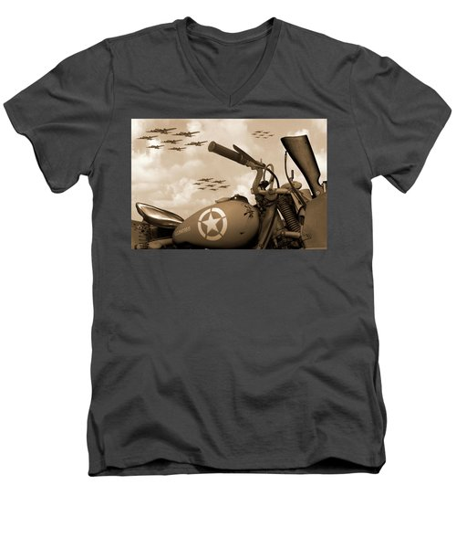Men's V-Neck T-Shirt featuring the photograph 1942 Indian 841 - B-17 Flying Fortress - H by Mike McGlothlen