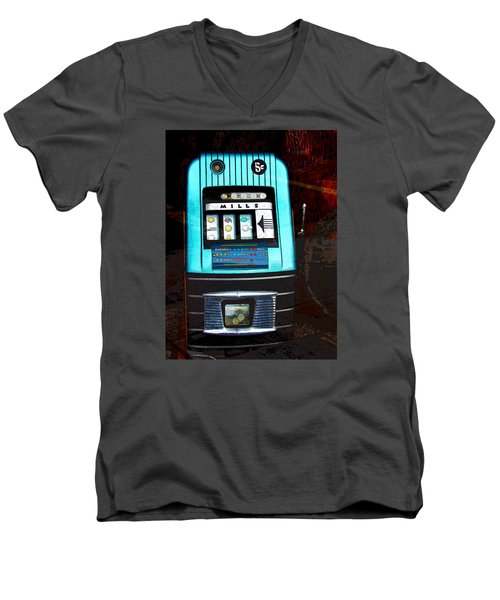 1945 Mills High Top 5 Cent Nickel Slot Machine Men's V-Neck T-Shirt by Karon Melillo DeVega