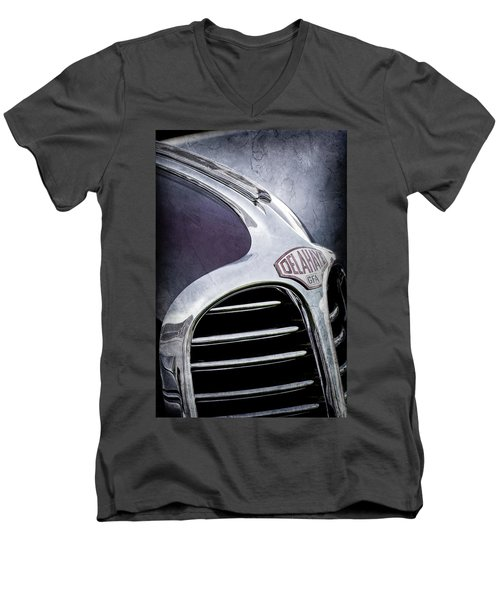 Men's V-Neck T-Shirt featuring the photograph 1947 Delahaye Emblem -1477ac by Jill Reger
