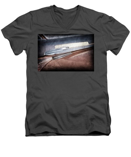Men's V-Neck T-Shirt featuring the photograph 1948 Chevrolet Hood Ornament -0587ac by Jill Reger