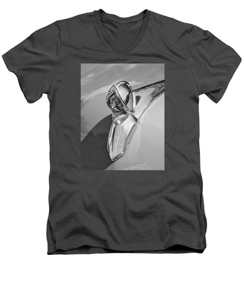 Men's V-Neck T-Shirt featuring the photograph 1949 Desoto Hood Ornament by Betty Denise