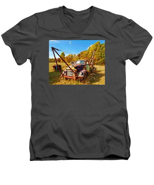 Men's V-Neck T-Shirt featuring the photograph 1950 Gmc Truck by Mark Allen
