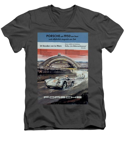 1950 Porsche Le Mans Poster Men's V-Neck T-Shirt