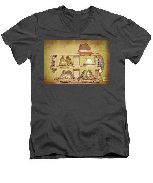 1950s Hats Men's V-Neck T-Shirt by Marion Johnson