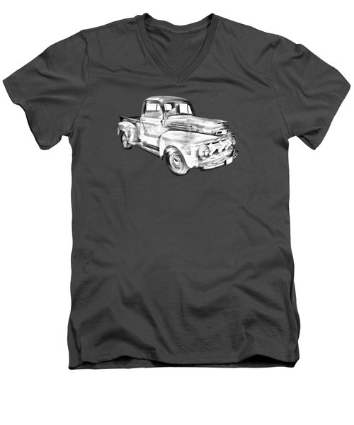 1951 Ford F-1 Pickup Truck Illustration  Men's V-Neck T-Shirt by Keith Webber Jr