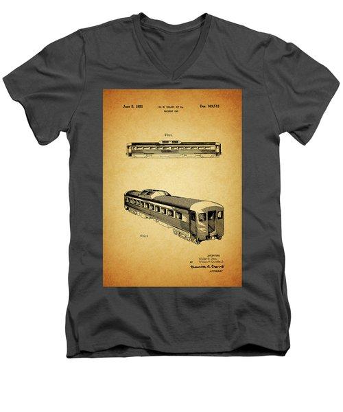 1951 Railway Car Patent Men's V-Neck T-Shirt by Dan Sproul