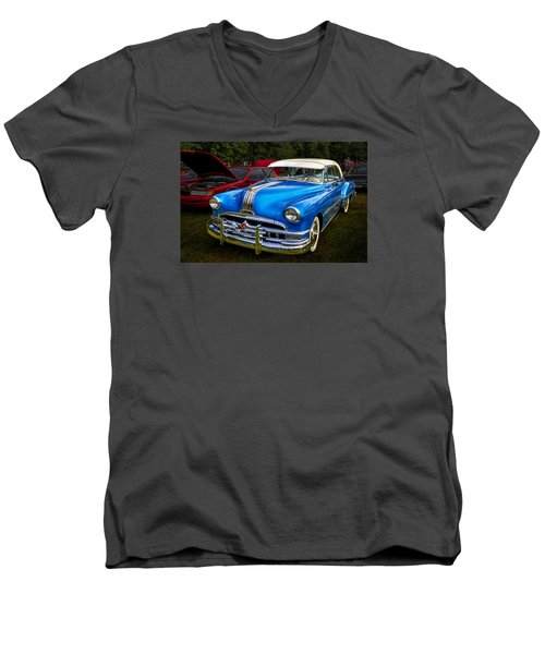 Men's V-Neck T-Shirt featuring the photograph 1952 Blue Pontiac Catalina Chiefton Classic Car by Betty Denise