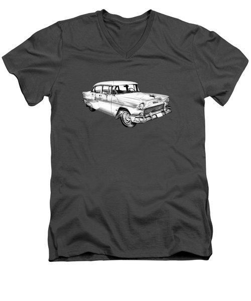 1955 Chevrolet Bel Air Illustration Men's V-Neck T-Shirt by Keith Webber Jr