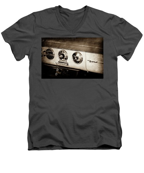 Men's V-Neck T-Shirt featuring the photograph 1955 Ford Fairlane Dashboard Emblem -0444s by Jill Reger