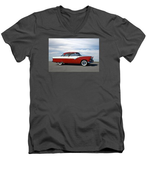 1955 Ford Victoria Men's V-Neck T-Shirt by Tim McCullough