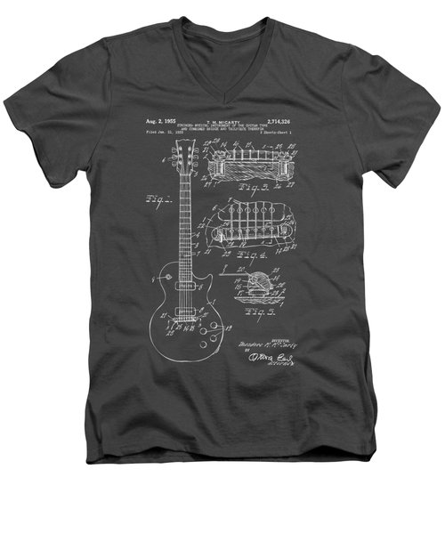 Men's V-Neck T-Shirt featuring the drawing 1955 Mccarty Gibson Les Paul Guitar Patent Artwork Blueprint by Nikki Marie Smith