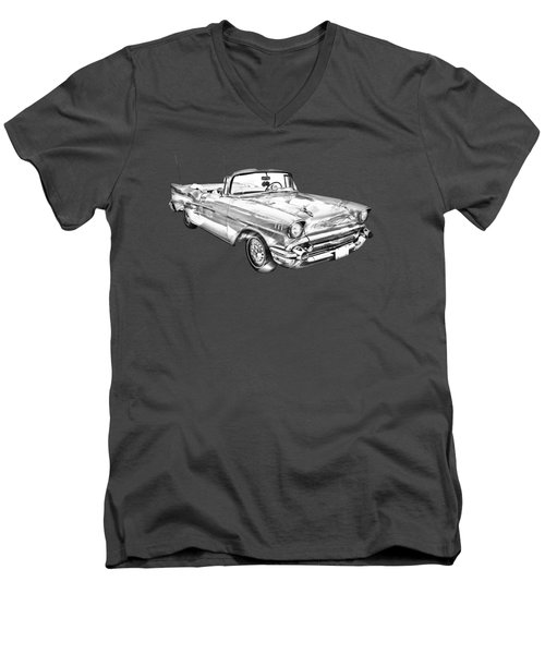 1957 Chevrolet Bel Air Convertible Illustration Men's V-Neck T-Shirt