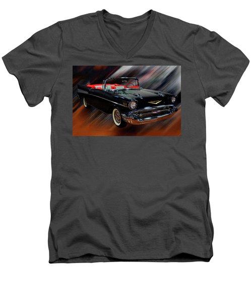 1957 Chevy Bel Air Convertible Digital Oil Men's V-Neck T-Shirt